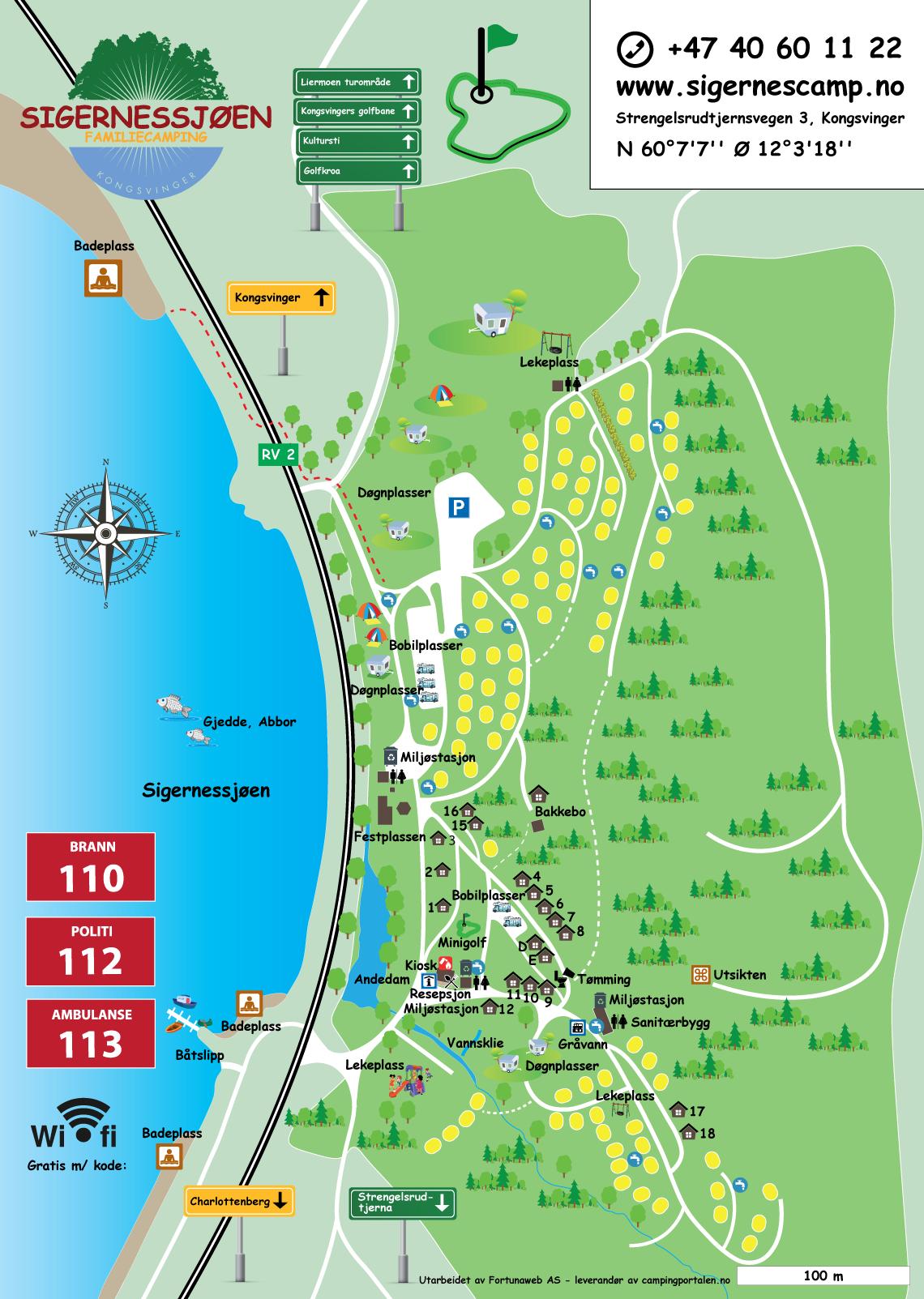 kart over sigernessjøen camping